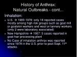 history of anthrax natural outbreaks cont