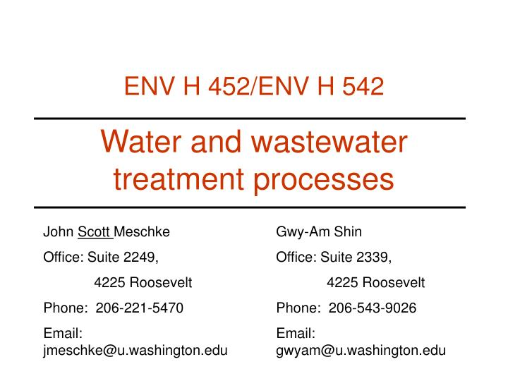 water and wastewater treatment processes n.