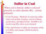sulfur in coal