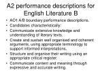 a2 performance descriptions for english literature b