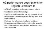 a2 performance descriptions for english literature b3
