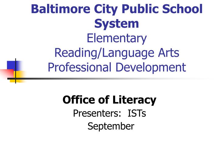 baltimore city public school system elementary reading language arts professional development n.