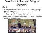 reactions to lincoln douglas debates