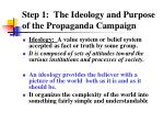 step 1 the ideology and purpose of the propaganda campaign