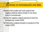 summary on homosexual s and data