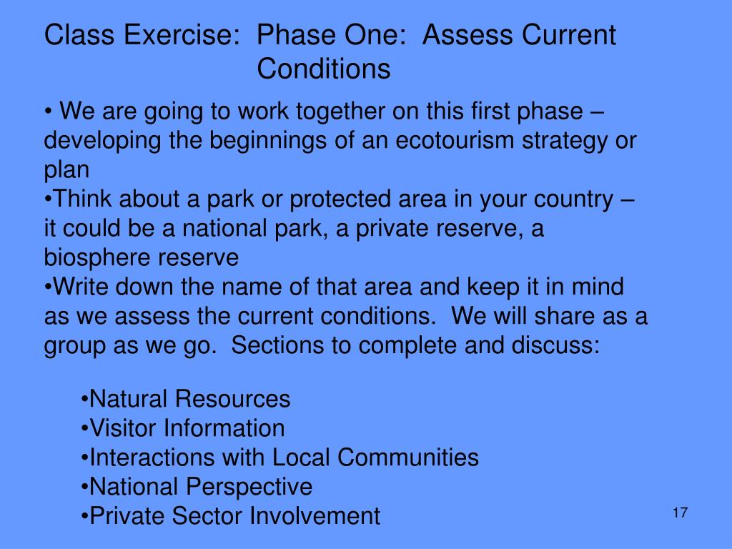 Class Exercise:  Phase One:  Assess Current