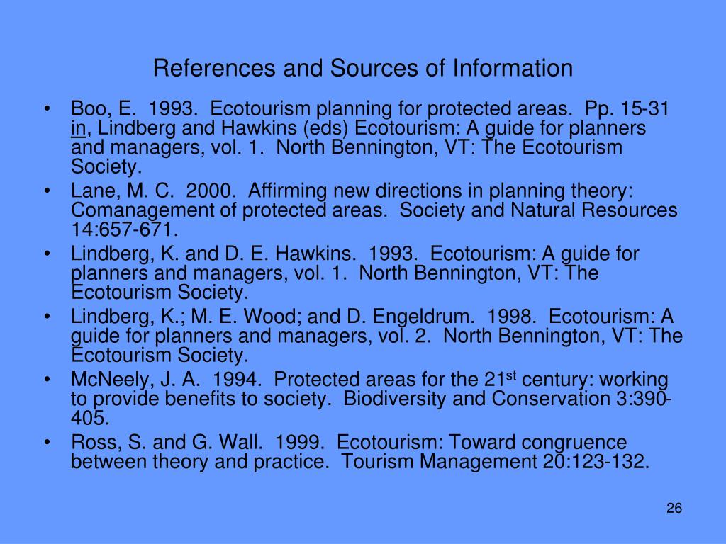 References and Sources of Information