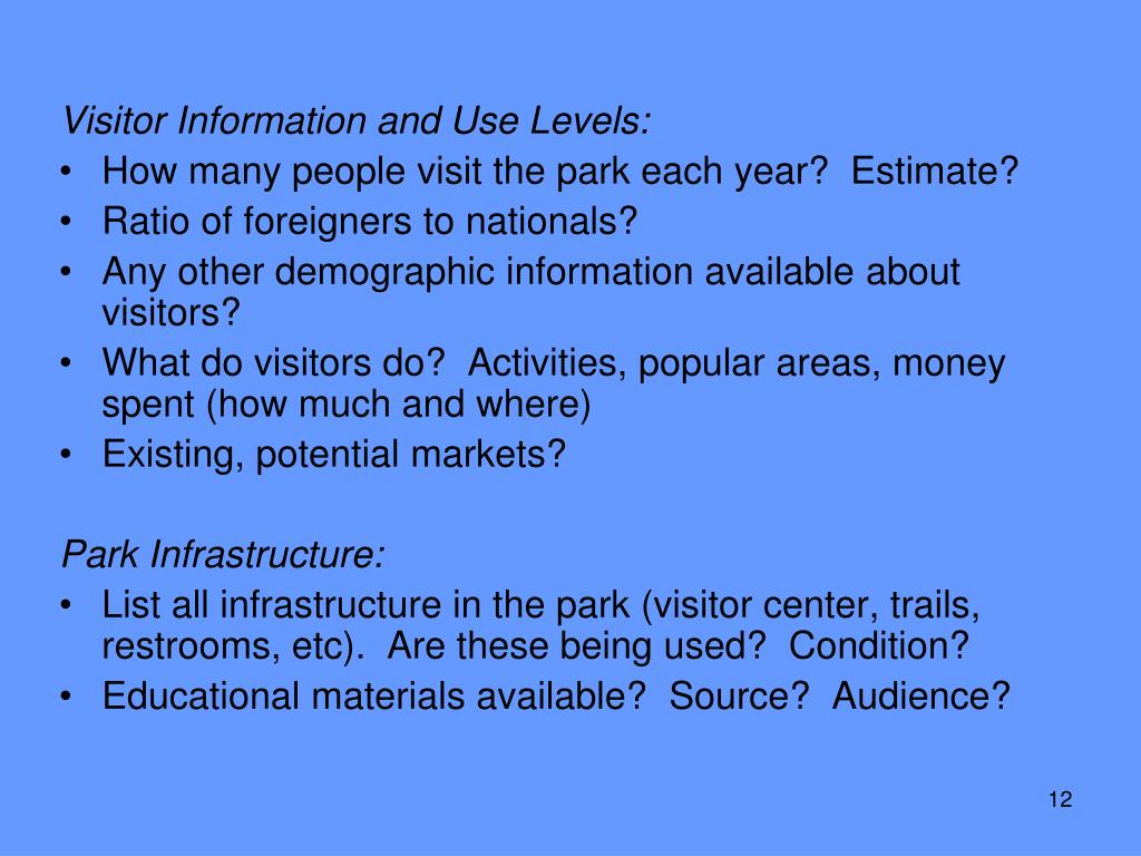 Visitor Information and Use Levels: