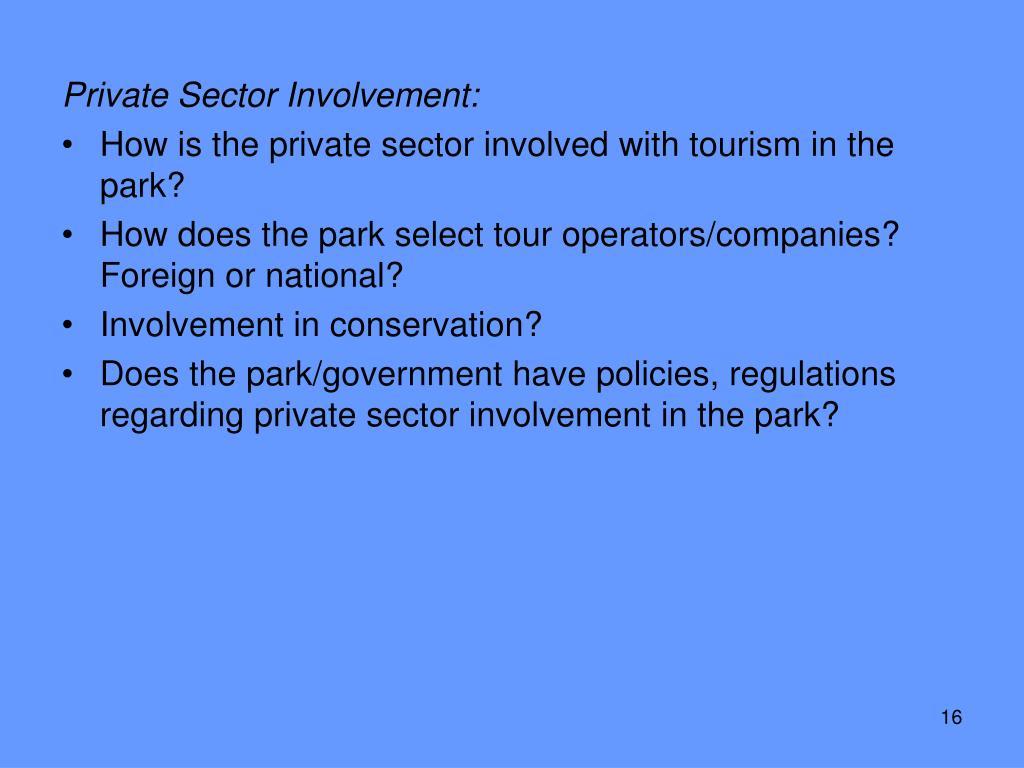 Private Sector Involvement: