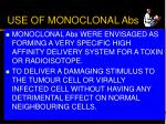 use of monoclonal abs