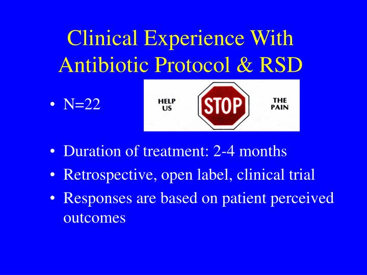 clinical experience with antibiotic protocol rsd n.