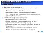 physician partnerships for disease management