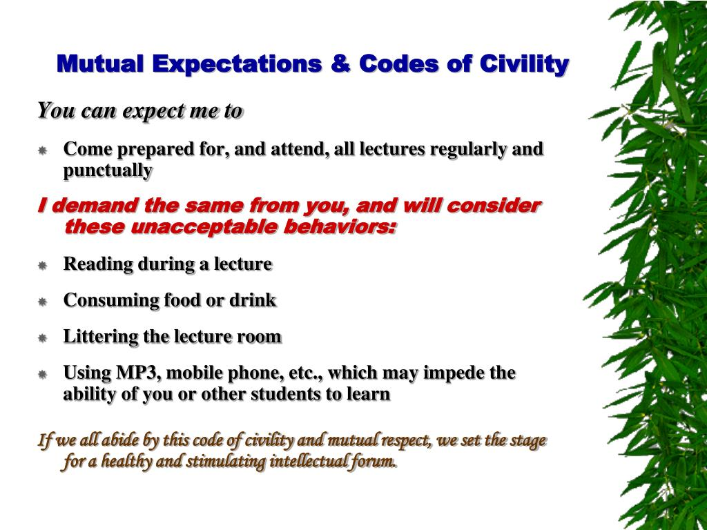 Mutual Expectations & Codes of Civility