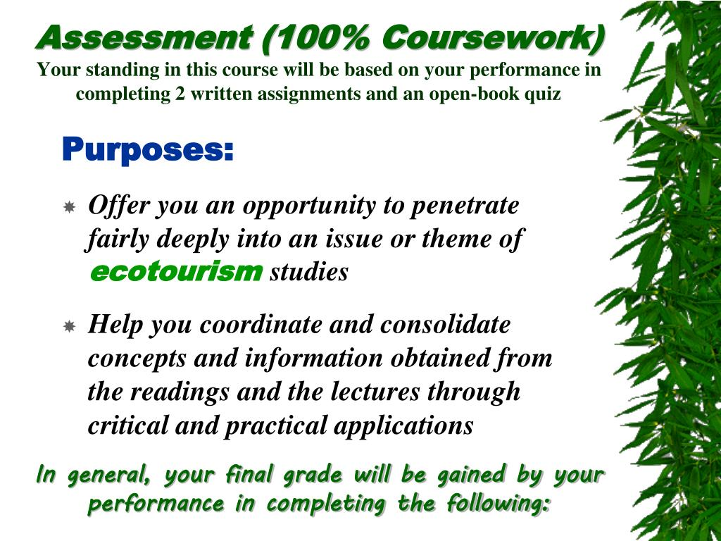 Assessment (100% Coursework)