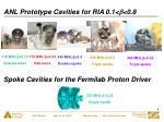 anl prototype cavities for ria 0 1 b 0 8