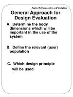 general approach for design evaluation