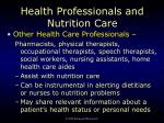 health professionals and nutrition care4