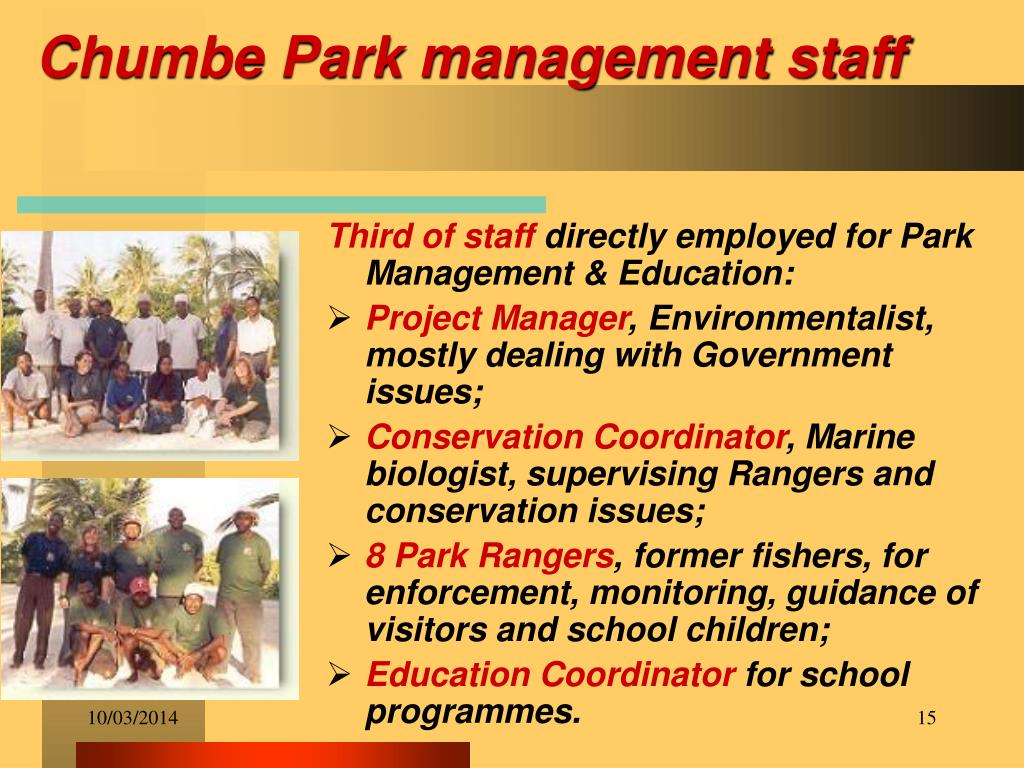 Chumbe Park management staff