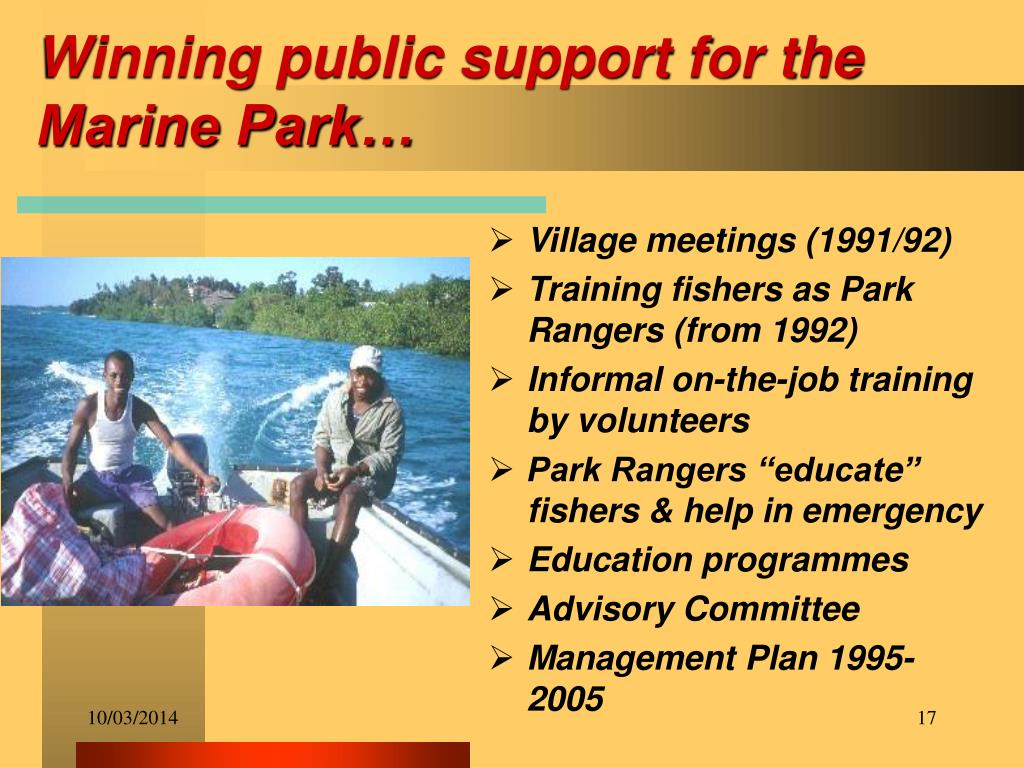 Winning public support for the Marine Park…
