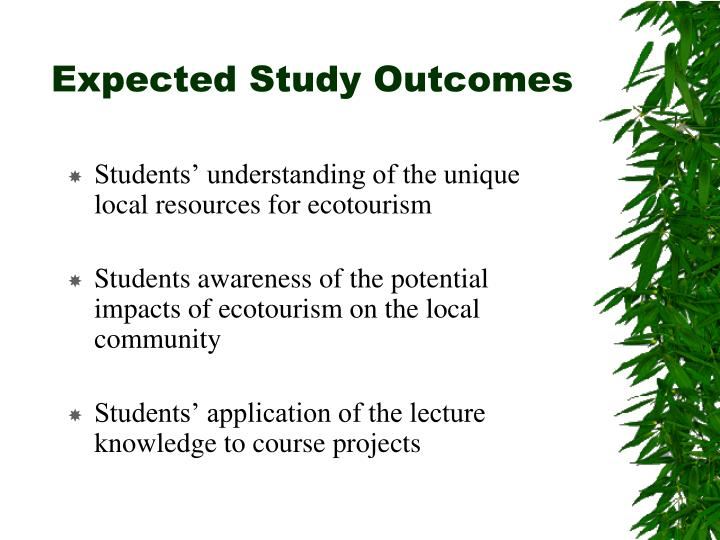 Expected study outcomes