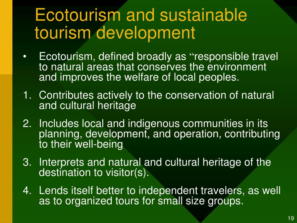 Ecotourism and sustainable tourism development