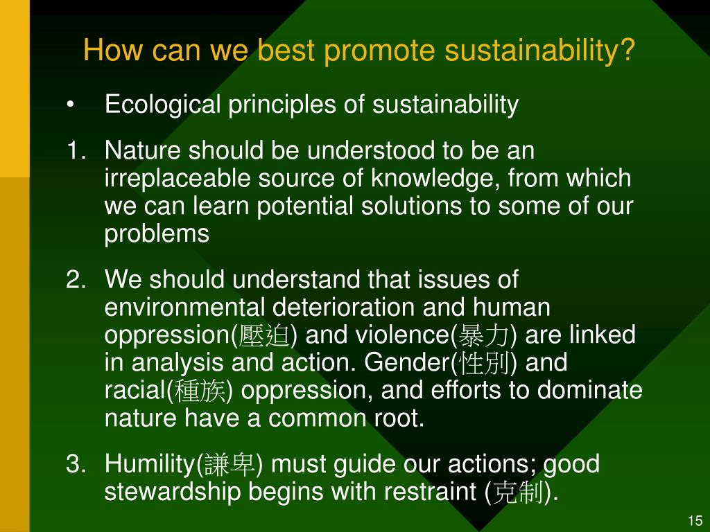 How can we best promote sustainability?