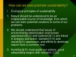 how can we best promote sustainability