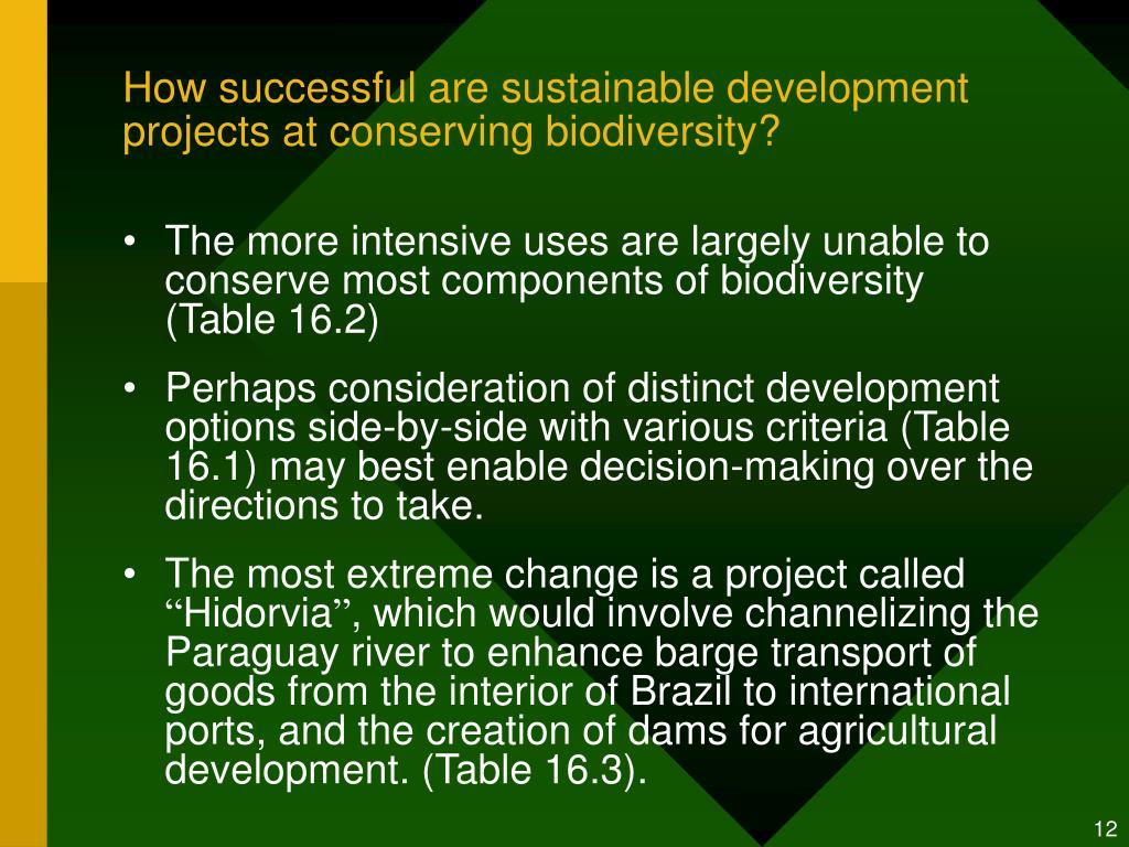 How successful are sustainable development projects at conserving biodiversity?