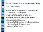 some observations on productivity and new words