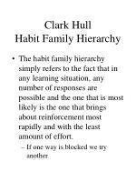 clark hull habit family hierarchy