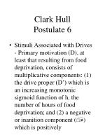 clark hull postulate 6