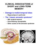 clinical dissociations of short and long term memory