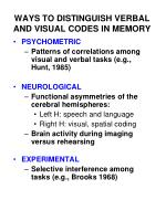 ways to distinguish verbal and visual codes in memory