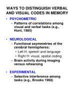 ways to distinguish verbal and visual codes in memory