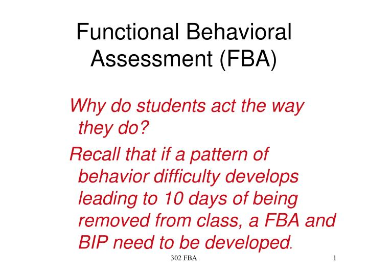 functional behavioral assessment fba n.