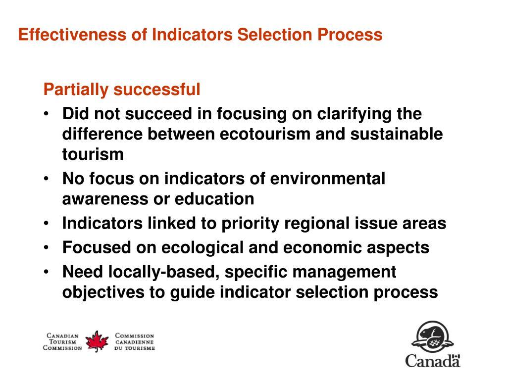 Effectiveness of Indicators Selection Process