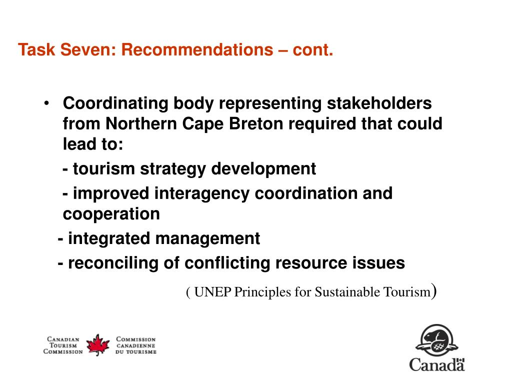Task Seven: Recommendations – cont.