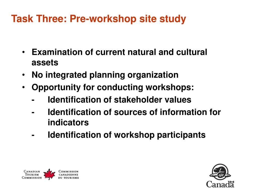 Task Three: Pre-workshop site study