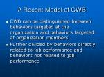 a recent model of cwb