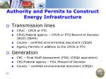 authority and permits to construct energy infrastructure