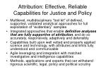 attribution effective reliable capabilities for justice and policy