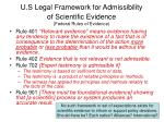 u s legal framework for admissibility of scientific evidence federal rules of evidence