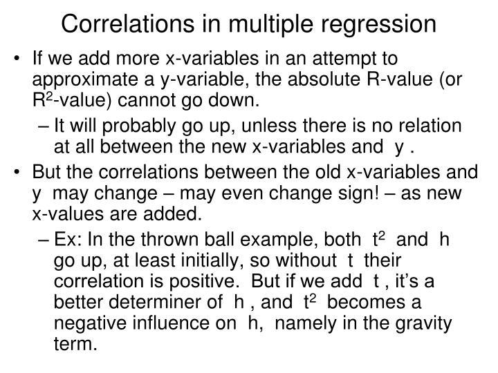 Correlations in multiple regression