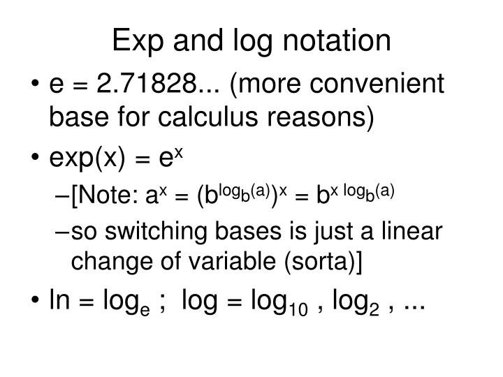 Exp and log notation