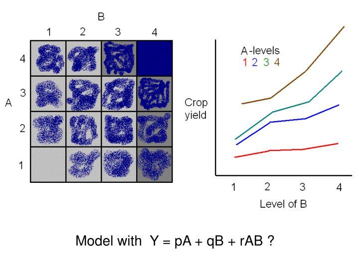 Model with  Y = pA + qB + rAB ?