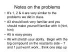 notes on the problems