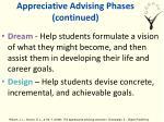 appreciative advising phases continued