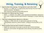 hiring training retaining
