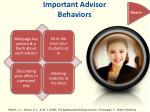 important advisor behaviors