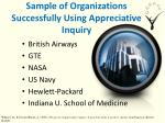 sample of organizations successfully using appreciative inquiry